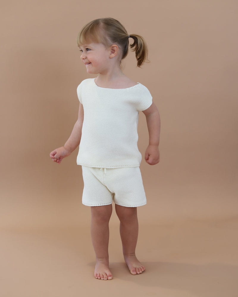 baby bird - knit shorts - shell