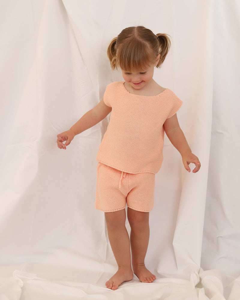 SHOP - baby bird -  knit shorts - coral