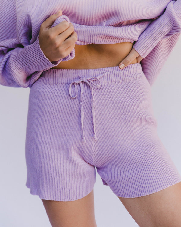 alex knit shorts - periwinkle
