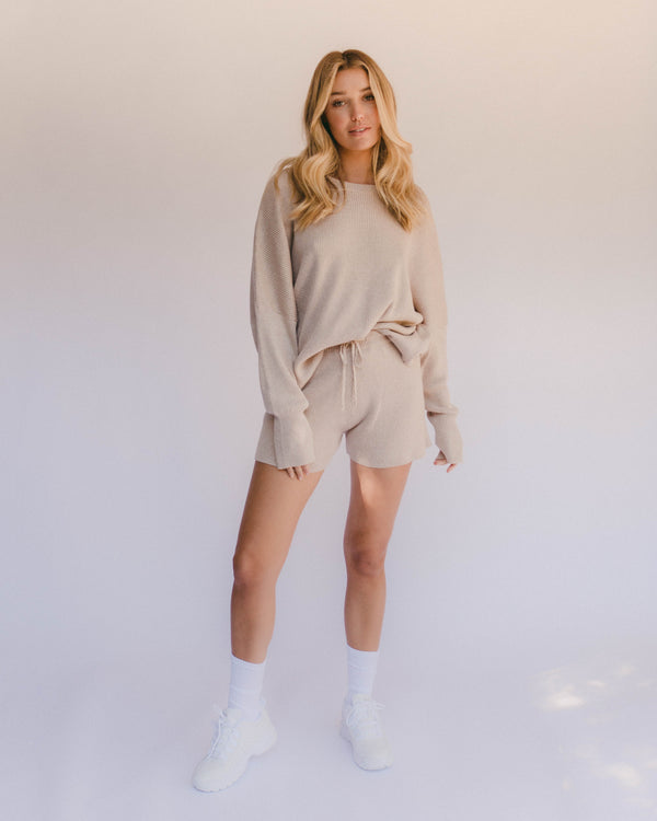 alex knit shorts - sand