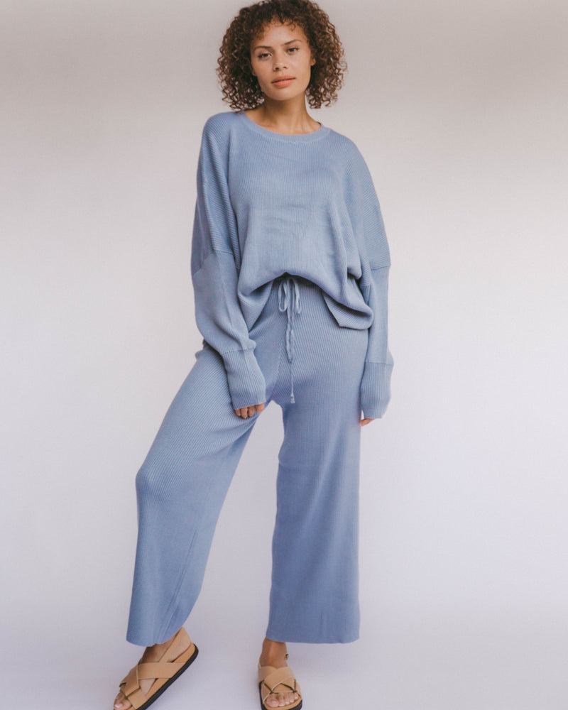 SHOP - THE LULLABY CLUB - PRE ORDER alex knit pants - denim blue
