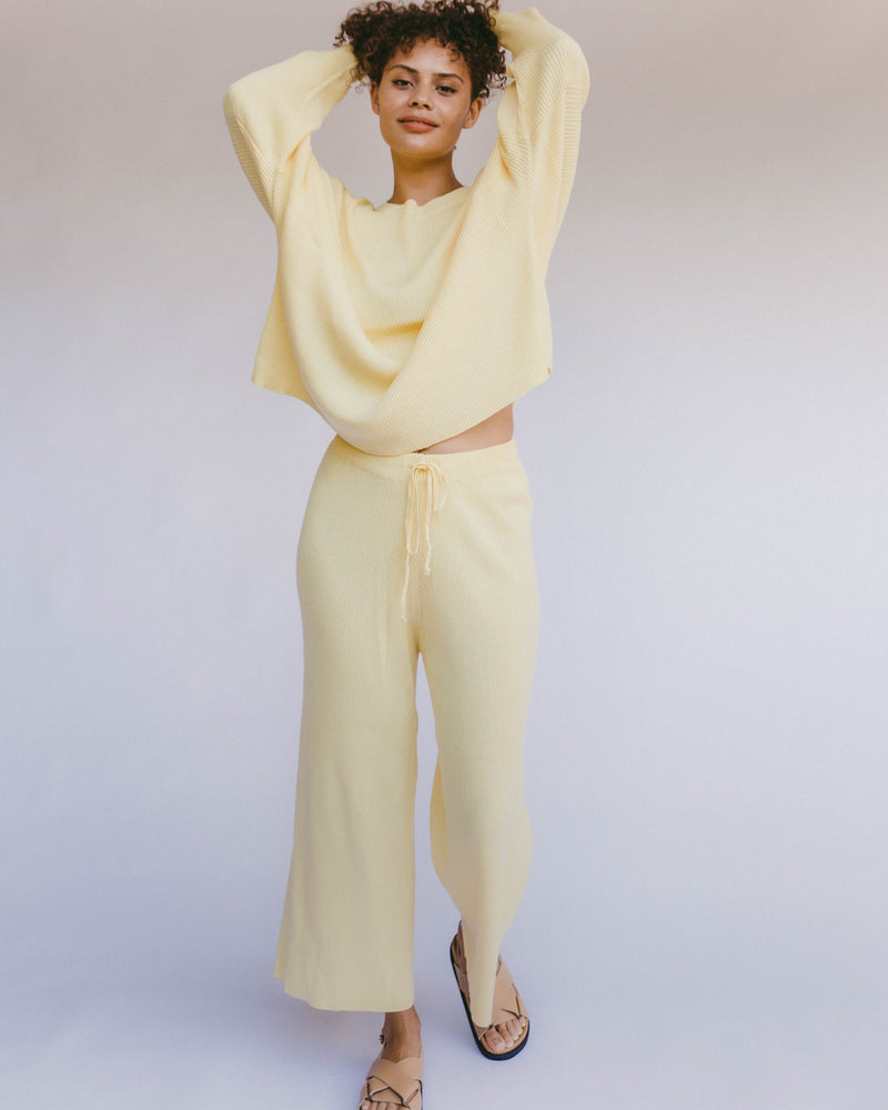 SHOP - THE LULLABY CLUB - PRE ORDER alex knit pants - lemon