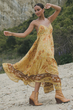SHOP - SPELL - mystic strappy maxi dress - sunflower
