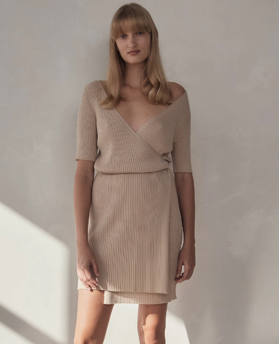 SHOP - St. Agni - Anais Wrap Knit Dress - Sand
