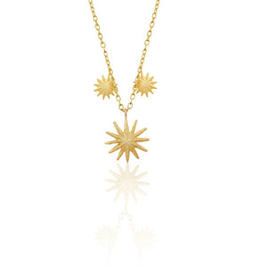 lemon - triple flower necklace - gold