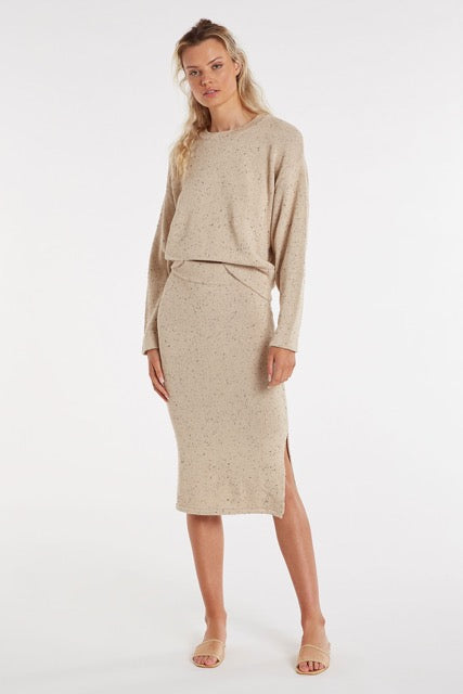 zulu & zephyr - dusty knit skirt - husk