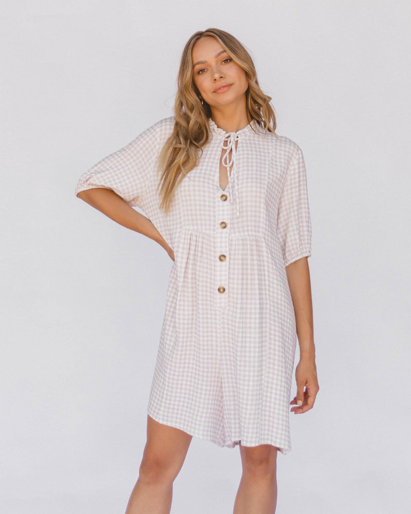Lullaby Club - Cody Playsuit - Lilac Gingham