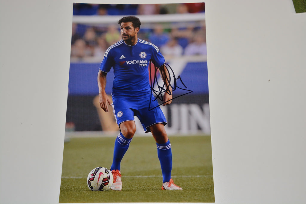 200117 - Cesc Fabregas in Chelsea kit Mounted Action Photo Personally Signed - Treasure TV