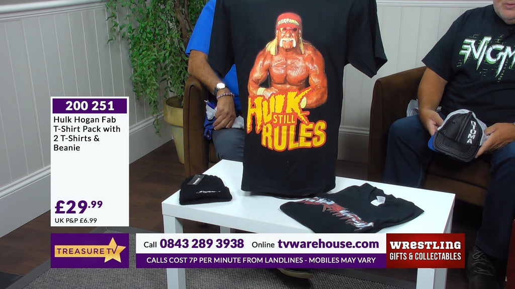 200251 - Hulk Hogan Fab T Shirt Pack - 2 x Hulk Hogan Picture T Shirts+ Beanie  - Assorted Sizes - Treasure TV