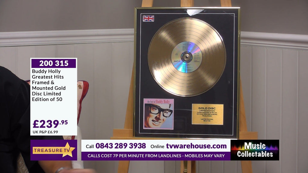 200315 - Buddy Holly- Greatest Hits Framed & Mounted Gold Discs Limited Edition of 50 only - Treasure TV