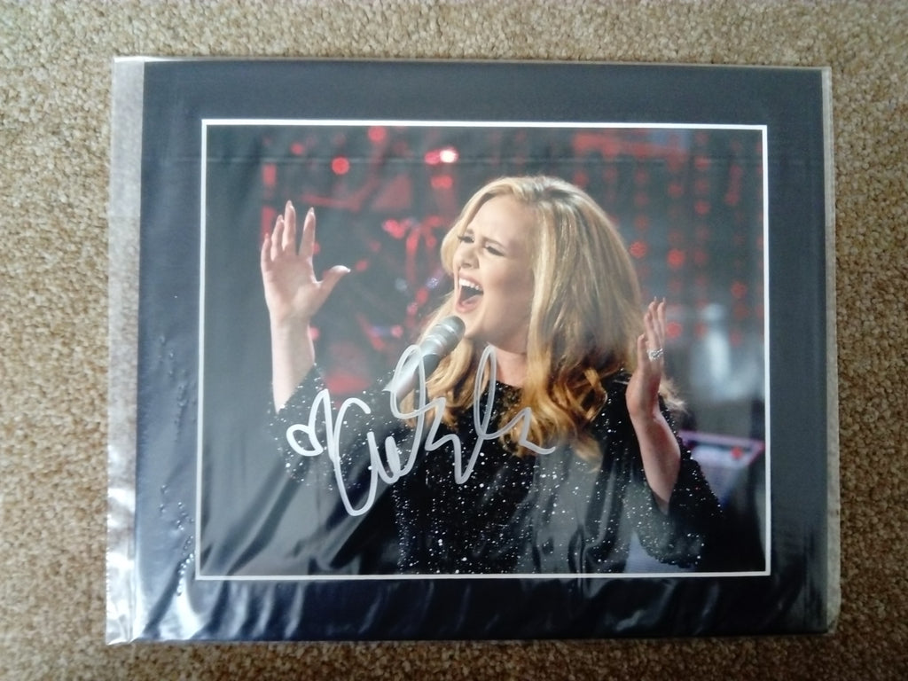 200619 - Adele Mounted Colour Photo Personally Signed by hand by Adele - Treasure TV