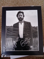 200620 - Eric Clapton Mounted Black & White Photo Personally Signed by Eric Clapton