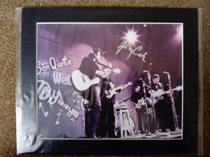 200621 - Johnny Cash on Stage with Band Classic Mounted Photo Personally Signed by Johnny - Treasure TV