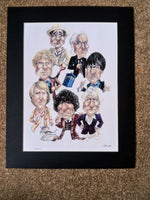 200615 - Dr Who - ' The First Seven Doctors' A fabulous Mounted Caricature Art Print. This is Number 590 of a strictly Limited Edition of only 1000
