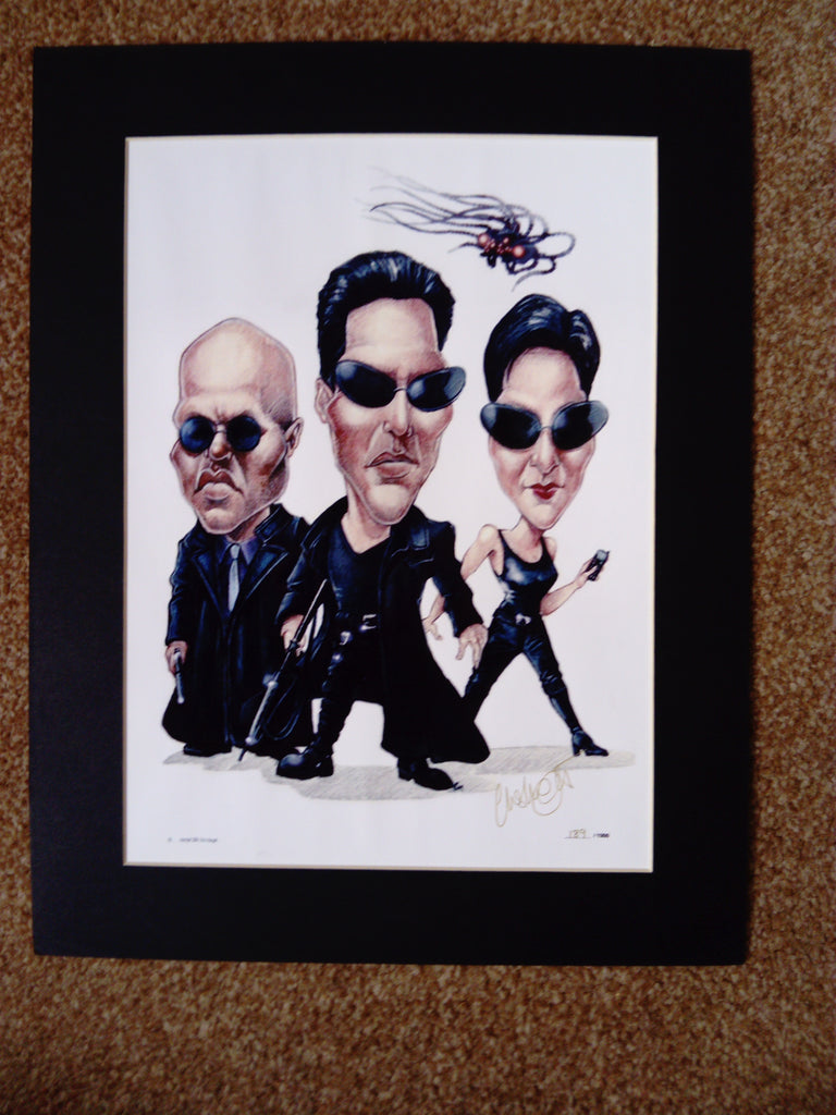 200613 - The Matrix Caricature Mounted Art Print A Numbered Limited Edition of only 1000 - Treasure TV