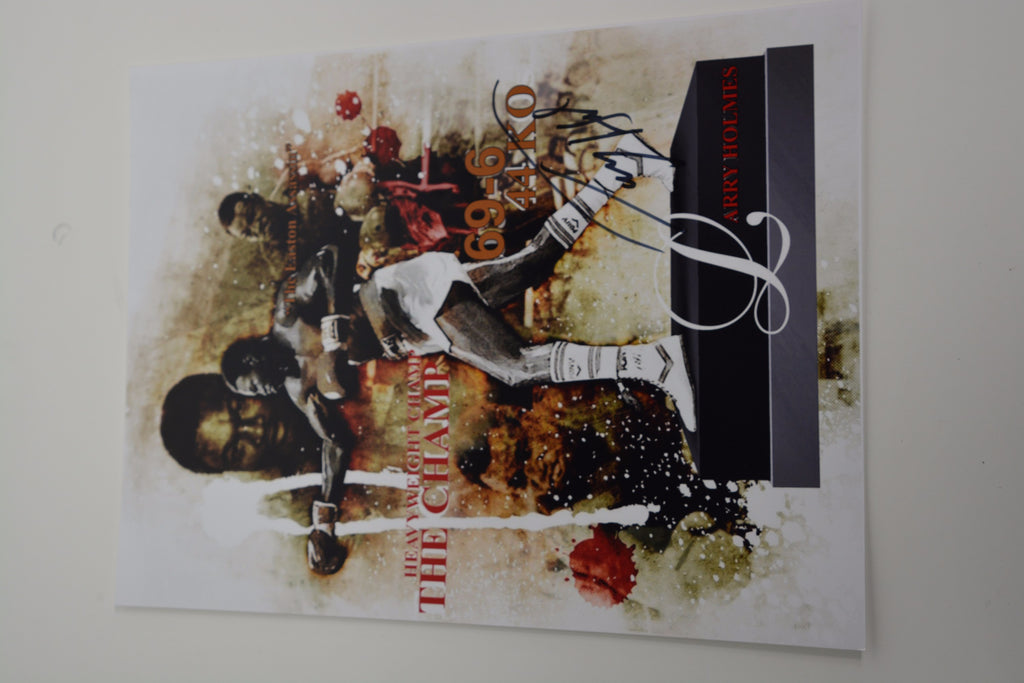 200154 - Larry Holmes Mounted Action Photo Personally Signed - Treasure TV