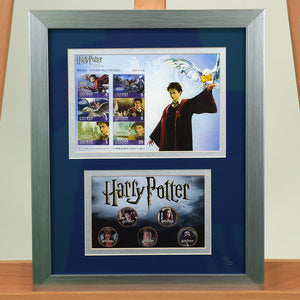 200445 - Harry Potter Framed & Mounted Stamps Sheetlet& HP Colorised Coins Collection