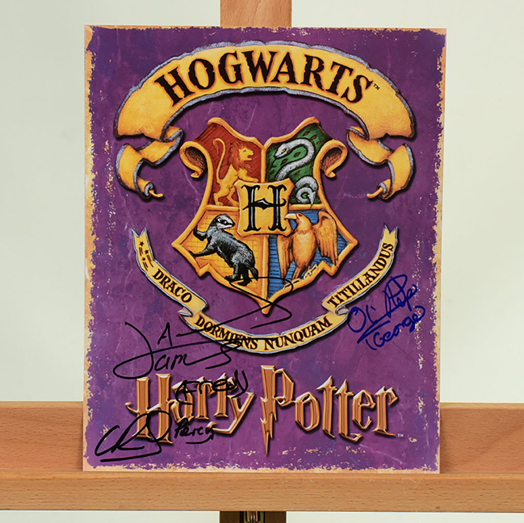 200453 -  Hogwarts Logo Colour Photo Card Personally Signed by 3 Weasley Brothers - Treasure TV