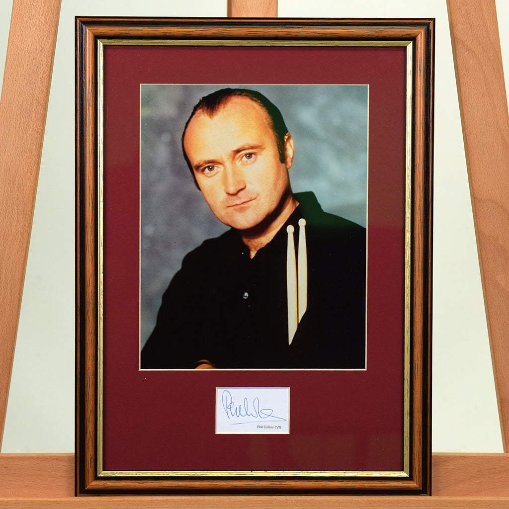 200502 - Phil Collins Framed & Mounted Photo & Personal Signature - Treasure TV