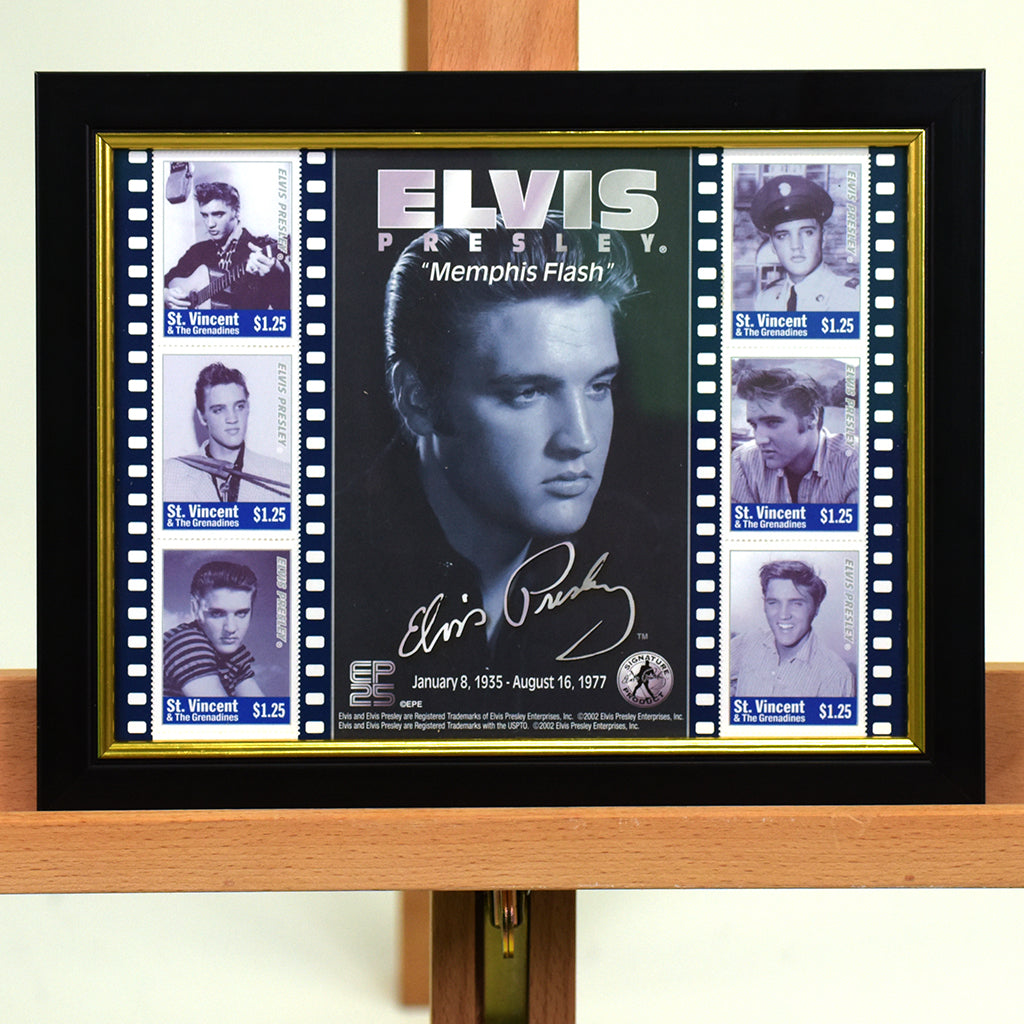 200479 - Elvis Presley - Memphis Flash Framed & Mounted Stamps Sheetlet - Treasure TV
