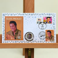 200487 - Elvis Presley Commemorative Cover with special genuine Elvis Colorised Coin - Treasure TV