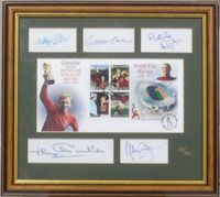 200128 - England 1966 W.Cup Winners Framed Stamps Sheet Personally Signed by 5 of Team Ltd Ed - Treasure TV