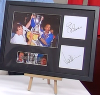 200131 - Zola & Vialli Framed & Mounted Photo Montage & Pers. Signed by Both - Treasure TV