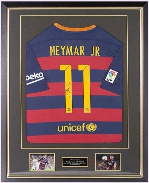 200136 - Neymar Framed & Mounted Barcelona FC Shirt Personally ...