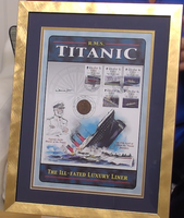 200382 - Titanic Framed Commmemorative Stamps Print Personally Signed by Survivor Millvina Dean - Treasure TV