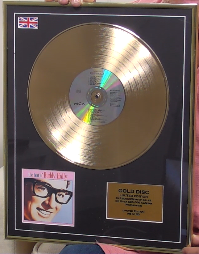 200315 - Buddy Holly- Greatest Hits Framed & Mounted Gold Disc Limited Edition of 50 only - Treasure TV