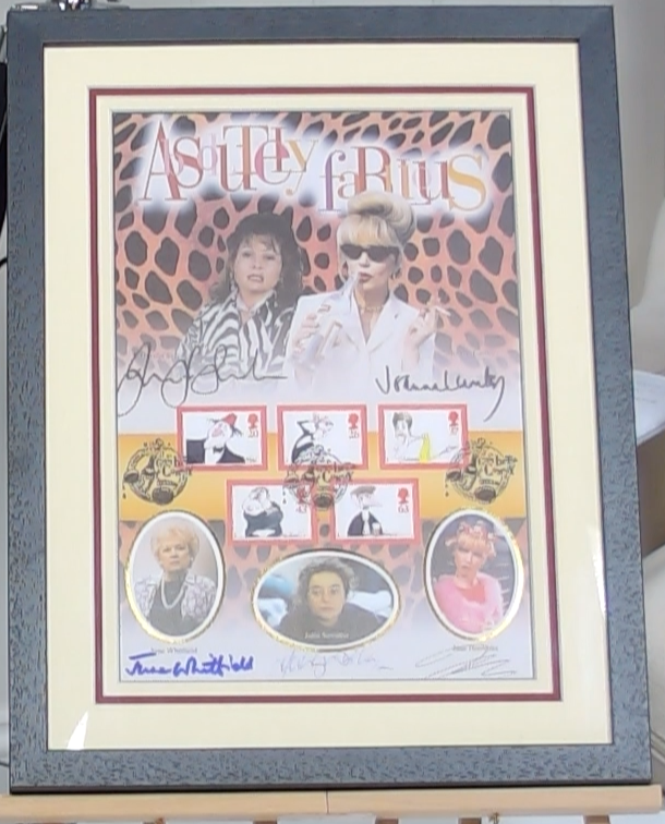 200254 - Ab Fab Framed Collectable Stamps Print Personally Signed by the Stars Ltd Edition - Treasure TV