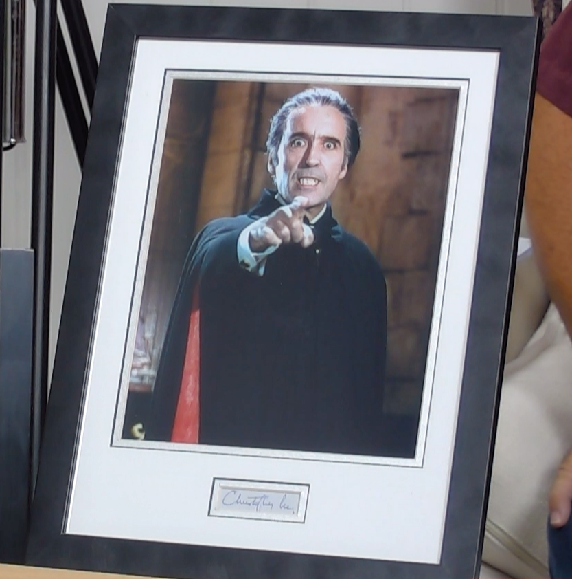 200256 - Dracula Framed Photo & Personal Signature of Sir Christopher Lee - Treasure TV