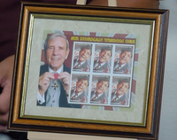 200268 - Sir Norman Wisdom Framed Celebration Collectors stamps sheetlet Print - Treasure TV