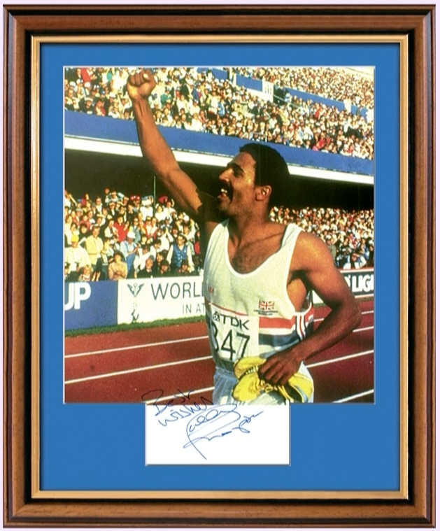 200358 - Daley Thompson Framed & Miounted Photo & Personal Signature - Treasure TV
