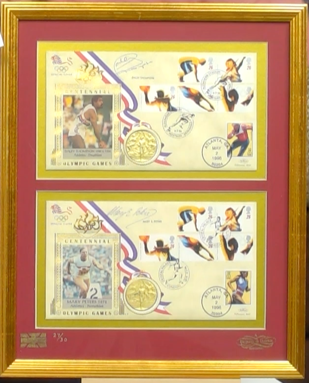 200363 - Olympics 1996 Mary Peters & Daley Thompson Framed Pair Commem. Covers Both Signed - Treasure TV