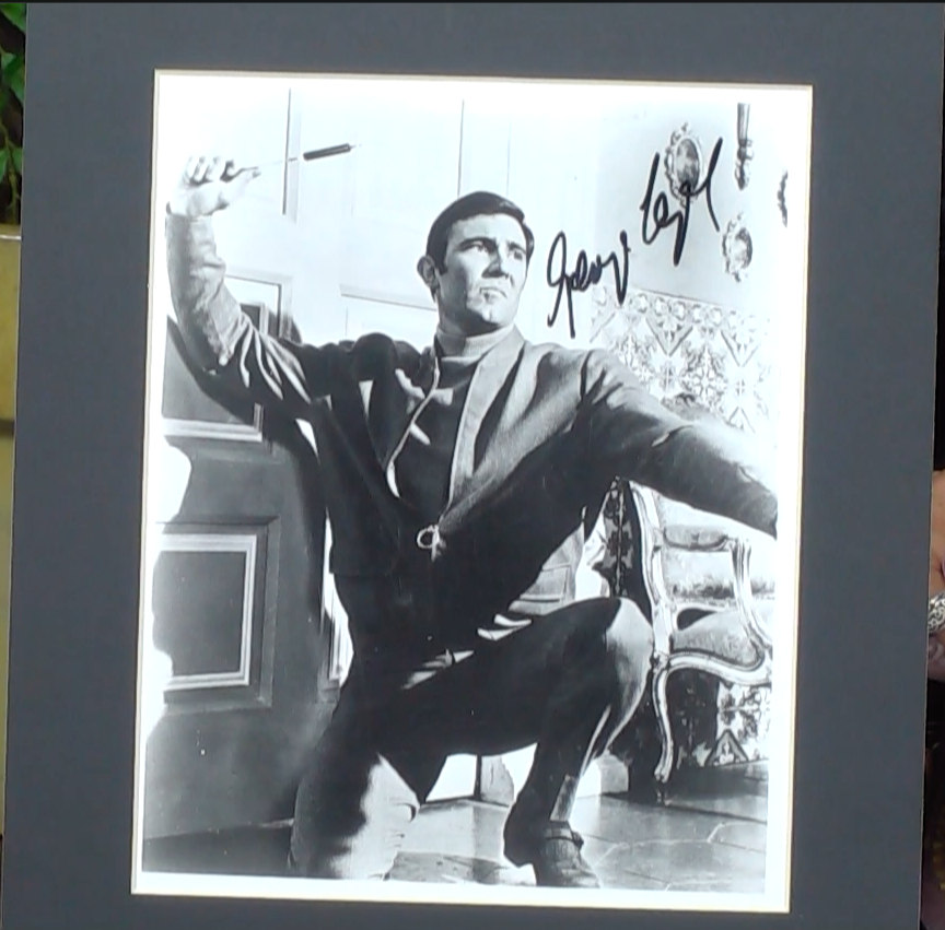 200210 - George Lazenby as James Bond Mounted Photo Personally Signed - Treasure TV