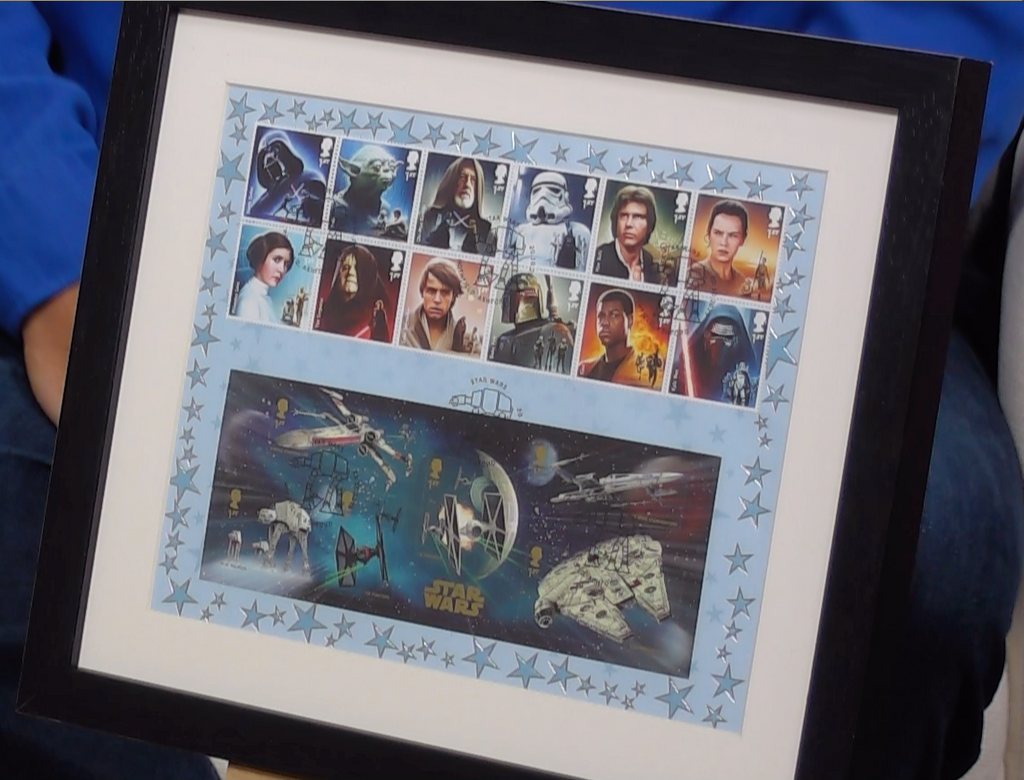 200326 - Star Wars Framed & Mounted Celebration Stamps Sheetlet with Hothfield Postmark - Treasure TV