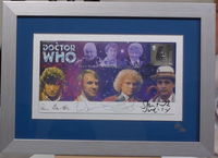 200167 - Dr Who Framed Cover featuring first 7 Doctors with Signatures of each Doctor Ltd Edition 500 - Treasure TV