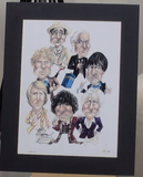 200169 - Dr Who- First 7 Doctors Caricature Art Print Signed by Artist Ltd Edition of 1000 only - Treasure TV