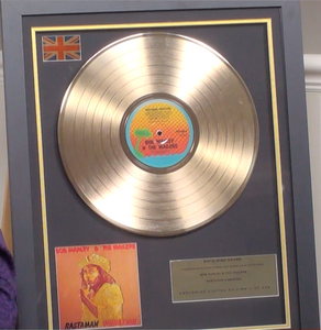 200296 - Bob Marley - Rastaman Vibration Framed & Mounted Gold Disc Ltd Edition of 250 only - Treasure TV