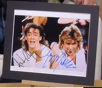 200312 - Wham - George Michael & Andrew Ridgeley Mounted Col. Photo Personally Signed by Both - Treasure TV