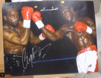 200157 - Chris Eubank v Nigel Benn Mounted Action Photo Personally Signed by Both - Treasure TV