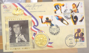 200164 - Chris Finnegan Signed Olympic Games Commemorative Cover replica Olympic Gold Medal - Treasure TV