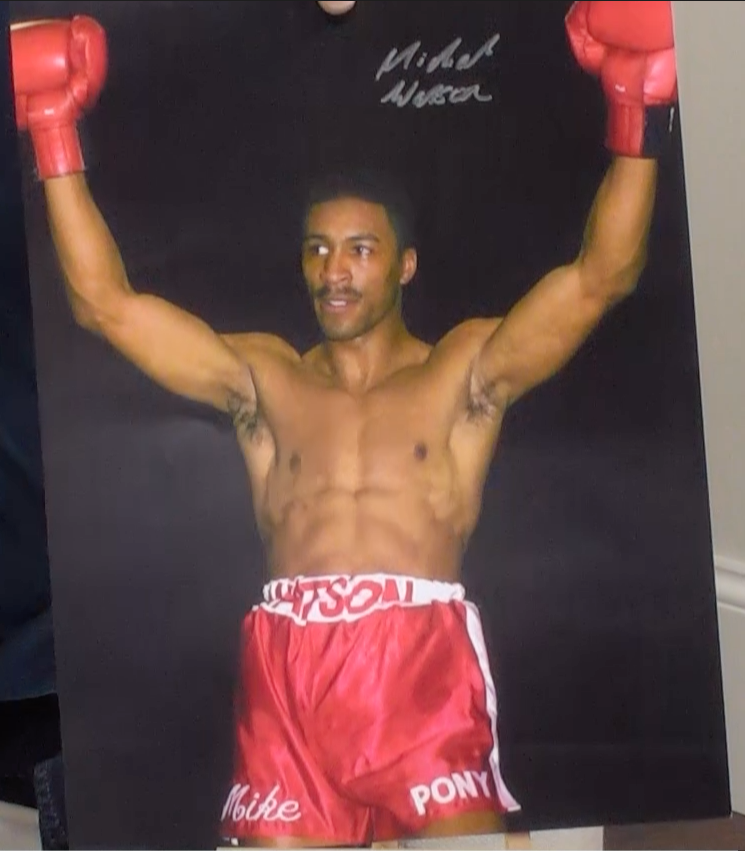 200165 - Michael Watson Mounted Large Action Photo Personally Signed - Treasure TV