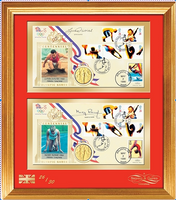 200362 - Olympics 1964 Mary Rand & Lynn Davies Framed Pair of Commemorative Covers.Both Signed - Treasure TV
