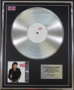 200489 - Michael Jackson - Bad Framed & Mounted Platinum Disc Ltd Edition of 50 only - Treasure TV
