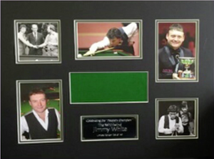 200419 - Jimmy White Mounted Photo & Signed Piece of Played On Baize Display Ltd Edition of 147 - Treasure TV