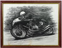 200197 - John Surtees Framed & Mounted Original Rare Lithograph  Personally Signed by John Surtees - Treasure TV
