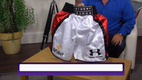 200385 - Anthony Joshua Personally Signed Boxing Shorts with Name on shorts - Treasure TV