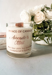 Avocado & Mint Scented Candle, Wood Wick Candles - Prince of Candles